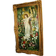 Fine Pre Raphaelite Style Nude Painting Set in Gilt Frame