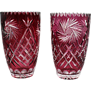 Pair of Ruby Overlay Crystal Cut Glass Vases