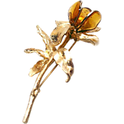 SALE Hattie Carnegie Flower Brooch Lapel Pin Poured Glass Gilded