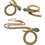 SALE Graziano Snake / Serpent Necklace Gold Tone Turquoise Glass Seed Pearls