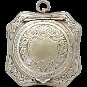 Vintage French Silver Locket Powder Compact / Art Deco Pendant Medaillon