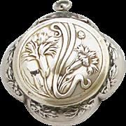 Vintage French Silver Locket Powder Compact / Art Nouveau Pendant Medaillon