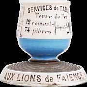 Vintage French Porcelain Advertising Match Holder 'Aux Lions de Faience'