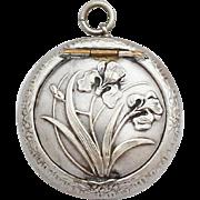 Vintage French Locket Powder Compact / Art Nouveau Pendant Medaillon