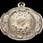 REDUCED 1900s French Silver Locket Powder Compact / Art Nouveau Pendant Medaillon