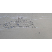 SALE Andre ABBAL (1876-1953) Rare Veteran Car Sketch dated 1903  Drawing Legion d'Honneur.