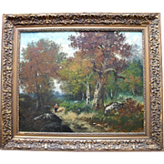 SALE Jenia Catois Imposing Large French  Barbizon School Landscape c1860 Oil Painting