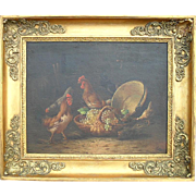 "SALE French School c1850 ""Chicken in a Basket"" Oil Painting."