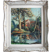 "Stany LEMMER (fl. 1940-1950) French Post Impressionist ""Orgerus"" Oil Painting"