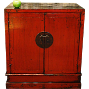 "Traditional Antique Chinese Red and Black Lacquered ""Seated"" Chest, Circa 1840"
