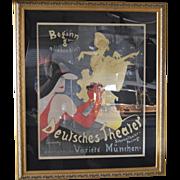 """""""Deutsches Theater"""" poster Original c. 1922"""