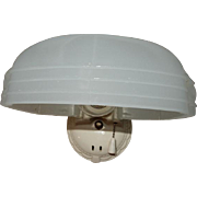 Single Vintage Bathroom Wall Sconce with Oversized Streamlined Camphor Glass Shade