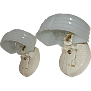Pair Porcelain Bathroom Kitchen Sconces with Oversized Camphor Glass Shades