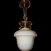 "Antique STEUBEN Etched Ivrene Glass 8"" Shade Hanging Fixture Chandelier Light"