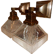 Simple Mission Style Arts and Crafts Sconces With Holophane Pattern Shades