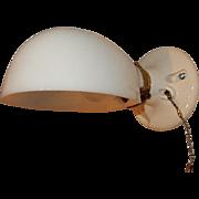 Simple Bathroom Sconce - Milk Glass Shade on Porcelain Fixture