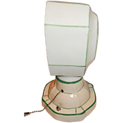 Green Stenciled Subway Tile Shade with Matching Green Stenciled White Porcelain fitter