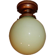 Ceiling Light Fixture w Lime Green Cased Glass Shade
