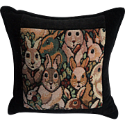 REDUCED Large Balsam Pillow Covered with 'Astonished' Rabbits