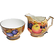 Vintage Aynsley Open Sugar Bowl & Creamer Set with Fruit Motif