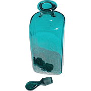 SOLD Tall, Square, Blown Blue-Green Reproduction Glass Bottle & Stopper