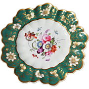 Single English Coalport Green & Gold Floral Plate with Scalloped, Undulating Edges