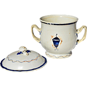 REDUCED Pseudo-Armorial Chinese Export Two-Handled Sugar Bowl, Domed Lid with Berry Finial
