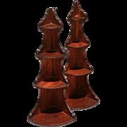 REDUCED Exceptionally Rare Pair New England Mahogany Corner Shelves, c.1790-1820