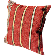 """REDUCED Softly Textured 24"""" Square Pillow, Barn Red Fabric with Gold & Green Stripes"""