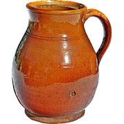 REDUCED Antique Redware Pitcher, Early 19th Century, Possibly Norwalk, CT