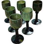 REDUCED Rare Set of 6 Hand-Carved Spinach Jade Goblets, late 19th Century