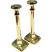 REDUCED Elegant Pair Tall & Slender George III Brass Candlesticks, c.1790