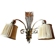 REDUCED Single Art Deco Wall Sconce of Chromed Metal & Cut Crystal