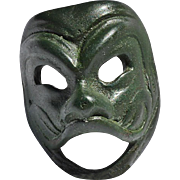 REDUCED Vintage Miniature Venetian Laughing Face Mask of Green Metal