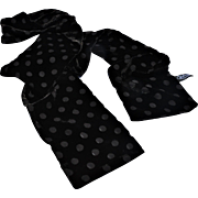 REDUCED Two-Sided Silk & Rayon Black Polka-Dot Velvet Neck Scarf