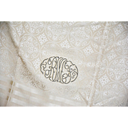 REDUCED Exquisite Vintage Gentlemen's Formal Silk Damask Scarf, Beautifully Monogrammed