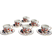 Vintage Aynsley 'Bird of Paradise' Demitasse Service for Six