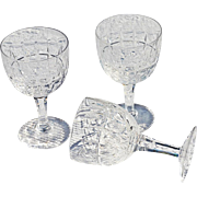 REDUCED Set of Three Small Claret or Red Wine Cut Glasses