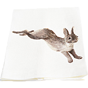 Vintage Linen Guest Towel Featuring a Fabulous Embroidered Rabbit