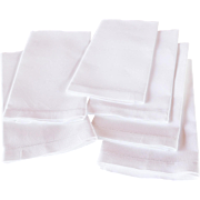 Vintage Set of Six Bright White Textured Cotton, Hem-Stitched Guest/Hand Towels