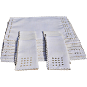 Fine Vintage Set of 8 Linen Placemats & Napkins with Embroidered Dots & Edges