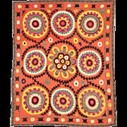 Vintage silk Suzani textile from Uzbekistan circa 1970