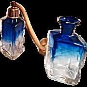 SALE ONE Stunning MOSER Karlsbad Cobalt Blue Intaglio Perfume Bottle Atomizer