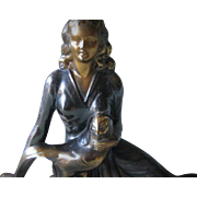 SALE Superb Figural Metal Mantelpiece on Marble Base - Art Deco Period - The Lady and the ...