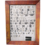 American Needlework Sampler Stitched in 1826
