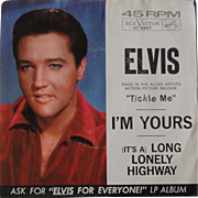 Original Elvis Presley 45rpm record with picture cover, I'm Yours