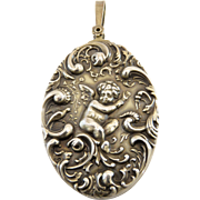 Sterling Silver Victorian Repousse Angel Pendant/Mirror