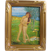 SOLD Andre Jourdain-Lemoine b1894 Listed French Impressionism Male/Female Nudes Embracing 16x1