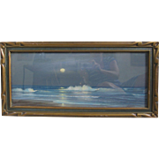 SALE Harry Linder Vintage 1920s Original Pastel Moonrise Seascape with Period Frame 10x24