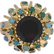 Vintage Garnet and Turquoise Ring